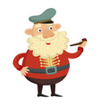 sea captain with tobacco pipe on a white vector image