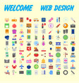 set of 100 universal and standard icons on flat vector image