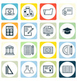 set of 16 school icons includes library taped vector image vector image