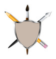 shield with a pencil art pen and brush heraldry vector image