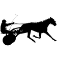 silhouette of horse and jockey vector image vector image
