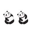 sitting cute panda curious vector image