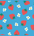 strawberry flowers seamless background vector image vector image