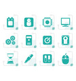 stylized computer and mobile phone elements icons vector image vector image