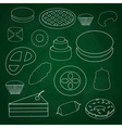sweet desserts outline icons on blackboard eps10 vector image vector image