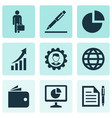 trade icons set with agreement growing chart vector image