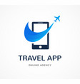 travel agency tourism app and trips logo vector image vector image