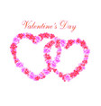 valentine s day two heart of pink flowers sakura vector image vector image