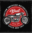 vintage custom american motorcycle round label vector image vector image