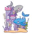 whales undersea animal cartoon vector image
