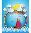 yacht on sea with sun bream and rainbow vector image vector image
