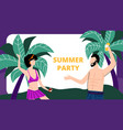 young man and woman dance on sandy beach vacation vector image vector image