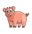 Cute pink piggy in cartoon style vector image