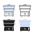 Kitchen electric steamer icons vector image