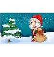 A short Santa with a sack of gifts vector image vector image