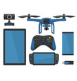 aerial drone with remote control flat vector image