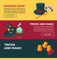 amazing show with tricks and magics internet pages vector image vector image