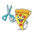 barber pizza slice character cartoon vector image