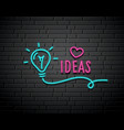bulb light ideas neon light concept design vector image