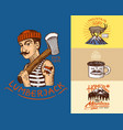 camping logo and labels mountains and lumberjack vector image
