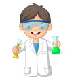 cartoon boy scientist holding two test tube vector image vector image
