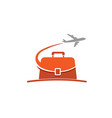 case travel airplane symbol creative air logo vector image vector image