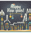 Christmas card with winter old city vector image vector image