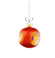christmas red glass ball with gold ornaments and vector image vector image