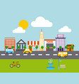 city buildings road urban street landscape vector image vector image