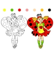 coloring page girl in costume Ladybug vector image vector image