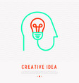 creative idea concept bulb in human head vector image vector image