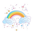 cute colored rainbow with clouds and vector image vector image