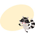 cute little raccoon character jumping from vector image vector image
