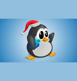 cute penguin in christmas hat with gift in vector image vector image