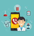 doctor with smartphone medical services app vector image vector image