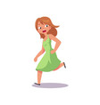flat frightened girl in dress running away vector image