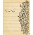 Floral doodle on paper sheet background vector image