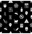 friday the 13 bad luck day icons seamless pattern