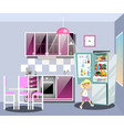 girl near refrigerator thinking what to eat vector image vector image