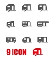 grey trailer icon set vector image vector image