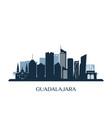 guadalajara skyline monochrome silhouette vector image vector image