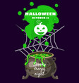 halloween holiday greeting card witch cauldron vector image vector image