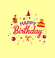 happy birthday flat style card with gifts vector image vector image