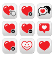 Heart love icons set vector image vector image