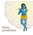 Hindu young god Lord Krishna Happy janmashtami vector image vector image