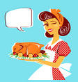 housewife portrait and roasted chicken on plate vector image vector image