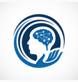 intellegent mind head health logo design vector image vector image
