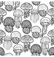 Jellyfish pattern in line art style vector image vector image