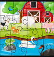 jigsaw pieces of animals on the farm vector image vector image