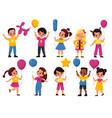 kids with balloons cartoon fun happy girls vector image vector image
